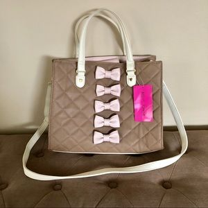 NWT Betsey Johnson Quilted Bow Satchel Bag